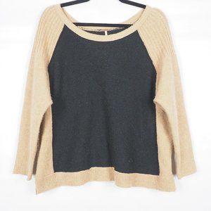 Free People Long Sleeve Sweater Black Tan XS